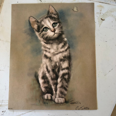 ONE Vintage Silton TIGER Cat Kitten Lithograph Print Picture