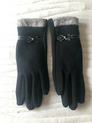 Unbranded Women's Black Tech Fur Lined Gloves with Bow Small NEW