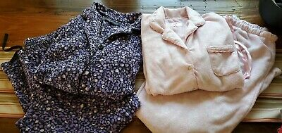 Lot of 2  Pajama Sets Anne Klein and Aria- Warm Cozy Fleece with Buttons Pockets