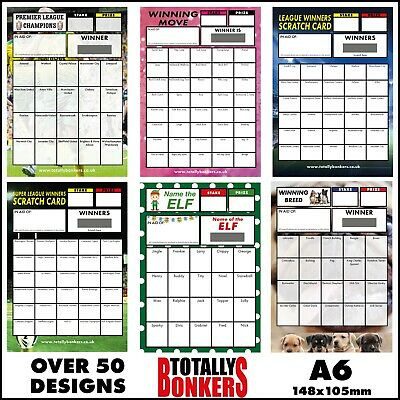 A6 Fundraising Scratch Cards - Football - Dance - Rugby - Dog - Various Designs