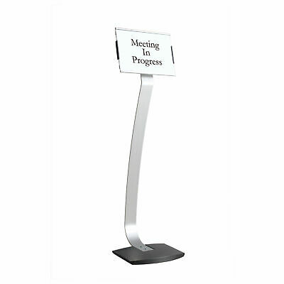 """MasterVision Contemporary Sign Stand, Silver/Black, 8"""" x 42"""""""