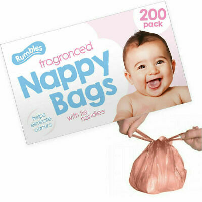 200 Fragranced Nappy Bags with Tie Handles Scented Baby Diaper Sacks Perfumed