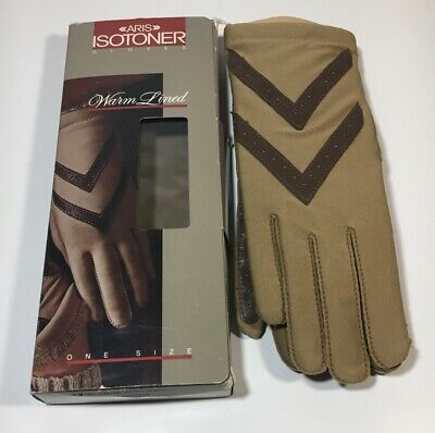 Vintage Aris Isotoner Warm Lined Driving Gloves #24011 - Tan / Brown - One Size