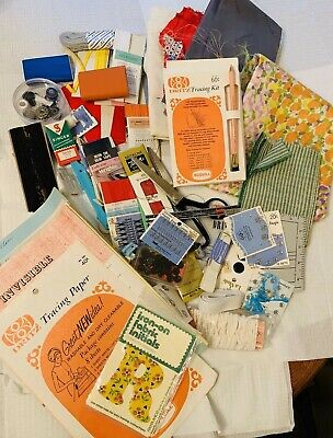 Lot of Vintage Sewing Notions & Supplies/Trims/ Notes 3.3 Lb