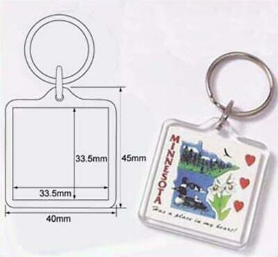 100 Blank Clear Acrylic Round Keyrings Dia 34mm w// Paper Punch Set Wholesale R02
