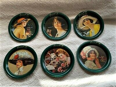 VTG Set of 6 COCA COLA Metal Tin Coasters Victorian Calendar Ladies Green 1983