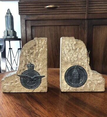 STONE BRITISH PARLIAMENT BOOKENDS Blitz Battle Britain RAF Motto Bronze Medals