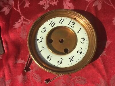 Enamel French  Clock Movement Dial And Bezel No Glass   For Spares