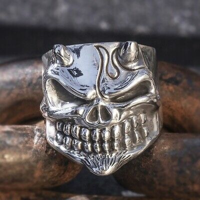 solid 999 Sterling Silver biker punk MENS handmade skull ring jewelry S4764