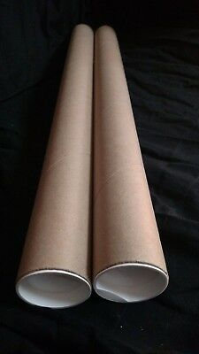 """Mailing Tubes with Caps, Kraft 2 inch x 24 inch (2 Pack) .060"""" Thick"""