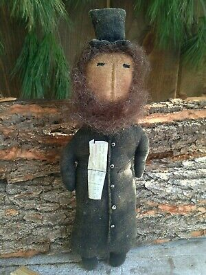 NEW!! Primitive Country Handmade Folk Art Patriotic Americana ABE LINCOLN Doll