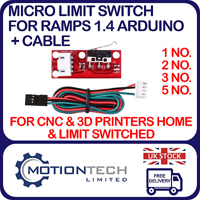 Micro Limit Switch for  RAMPS 1.4, +Cable End Stop for CNC Machines & 3D Printer