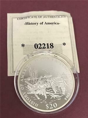 D-day Landing June 6, 1944 History of America 2001 Liberia $20 Silver Coin