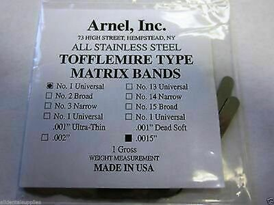1440Pk Tofflemire Stainless Steel Matrix Bands Universal Dental#1 .0015, 9516080