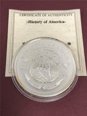 Prohibition Years History of America 2001 Liberia $20 Silver Coin