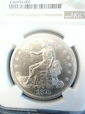1875 S NGC Trade Dollar UNC. Details Reverse Cleaned