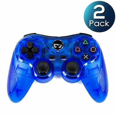 2x TTX Tech 2.4GHz Wireless Controller Gamepad Blue for Sony PlayStation PS2