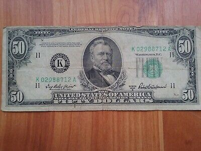 1950B $50 Fifty Dollar Federal Reserve Note Series K - Actual Bill Pictured