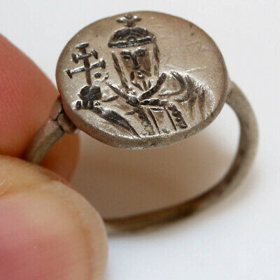 Ancient Byzantine Silver Seal Ring Depicting A Saint Circa 1000-1300 AD