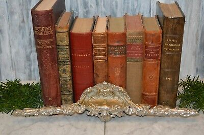 Antique French Ornate Silver Brass Large Shell Motif Pediment Mount
