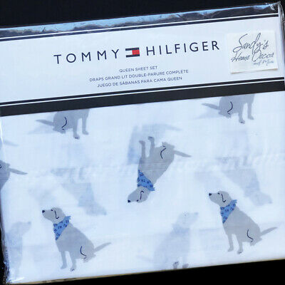 Tommy Hilfiger Dogs Flannel Queen Sheet Set NIP Labrador Retriever Dog