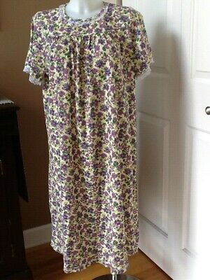 Vermont Country Store Yellow with Purple Cotton Blend Nightgown Size Medium