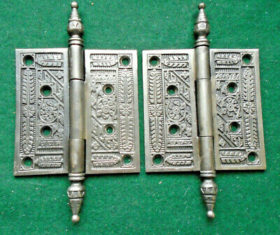"ONE BEAUTIFUL PAIR of VINTAGE EASTLAKE HINGES,  4"" X 4""  CIRCA 1885 (13335)"