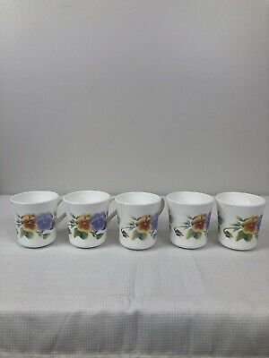 Set Of 5 Summer Blush Pansies Corelle Livingware Corning Coffee Cups Mugs