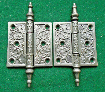 Pair Vintage Eastlake Hinges  3  X 3 Steeple Top  Beautiful (13332)