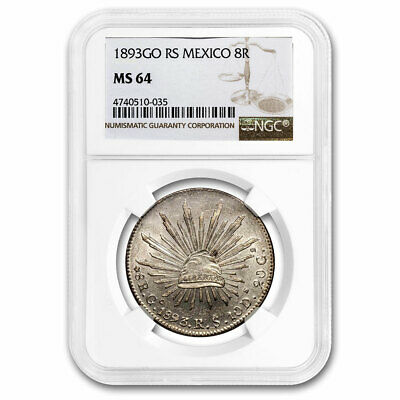 1893-Go RS Mexico Silver 8 Reales MS-64 NGC - SKU#211321