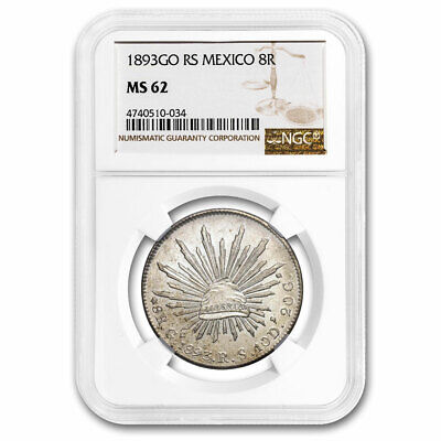 1893-Go RS Mexico Silver 8 Reales MS-62 NGC - SKU#210948