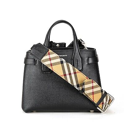 Burberry Baby Banner In Leather Tote Bag Black Housecheck Interior 650 00 Picclick
