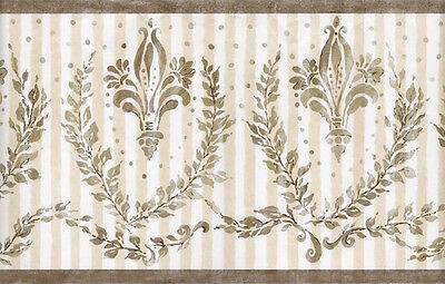 French Fleur De Lis Ribbon Crest Leaf Red Black Check Plaid Wall paper Border