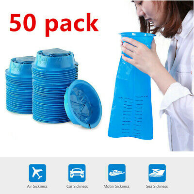 50 Pcs Disposable Sickness Bags Emesis Vomit Bags 1000mL for Travel Taxi Nausea