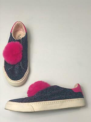 Girls M&S Kids Blue & Pink Glitter Pom Pom Slip On Trainers Shoes Size Uk 5