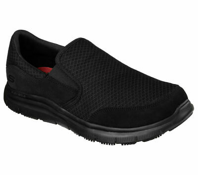 Skechers Men's Flex Advantage McAllen Slip Resistant Slip On Shoes Soft Toe Black Size 10.5(M)
