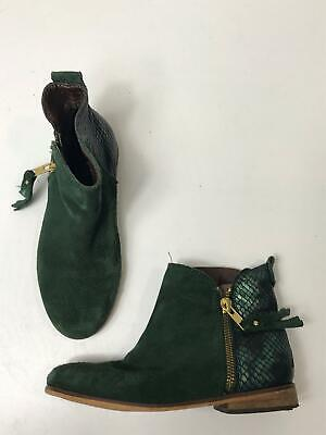 Girls Next Green Suede Tassel Zip Up Casual Flat Boot Shoes Size Uk 11