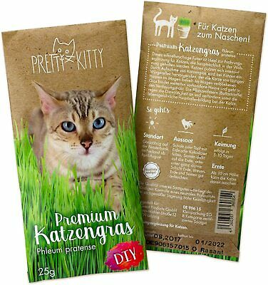 PRETTY KITTY 1 Pouch of Cat Grass Seeds for about 10 flowerpots