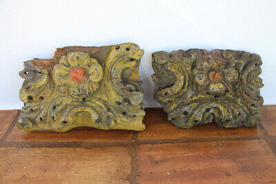 Set of Two Antique Baroque Altar Fragments, Indo-Portuguese 17th Century