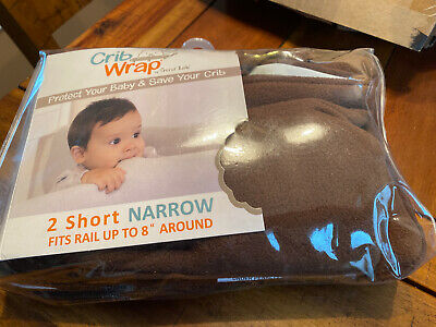 Trend Lab Crib Wrap Rail Cover Brown 2 Short Narrow Side Covers Open Box