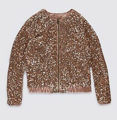 BNWT Marks & Spencer Girls sequin zip jacket Rose gold colour UK 4-5 years