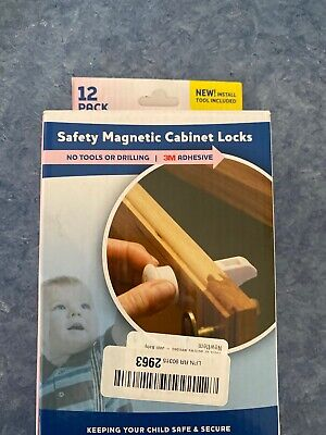 Child Safety Magnetic Cabinet Locks 12 Pack - No Tools Needed - Jool Open Box