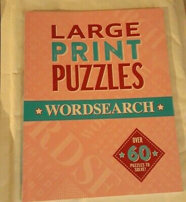 LARGE PRINT PUZZLES - Wordsearch ~ Over 60 Puzzles To Solve with Answers **NEW**