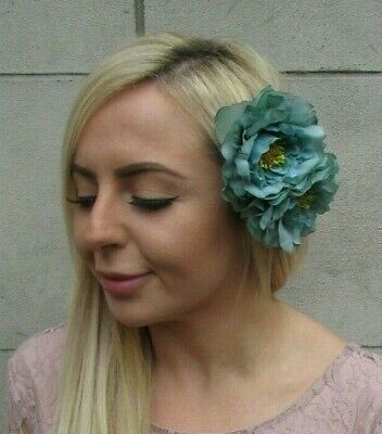 Double Jade Green Turquoise Emerald Peony Flower Hair Clip Fascinator Rose 0255