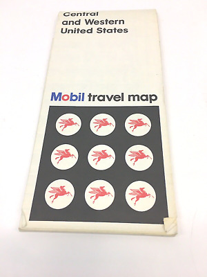 Vintage 1970 Mobil Central &  Western United States Oil Gas Travel Road Map Nice