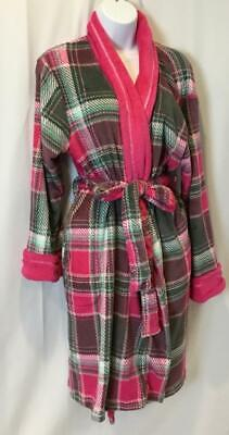 NWT ULTA Plush Plaid Fleece Robe w/Pockets Belted SZ L/XL Aqua/Pinks/Gray/Wht