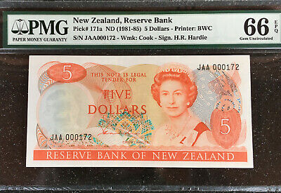 New Zealand $5 1981-85  P-171a.  PMG 66 EPQ   LOW SERIAL# 172   ( 3 OF 4 )