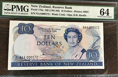 New Zealand 1981-85  $10   P-172a. PMG 64   LOW SERIAL# 172   ( 4 OF 4 )