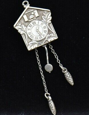 Vintage Cuckoo Clock Sterling Silver Charm 925 Large MOVES Pinecone Weights 3D