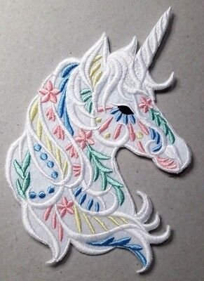 1 x UNICORN From 9cm To 13cm ROSE TRUMP EYE IRON ON PATCH Free  Post ARMY